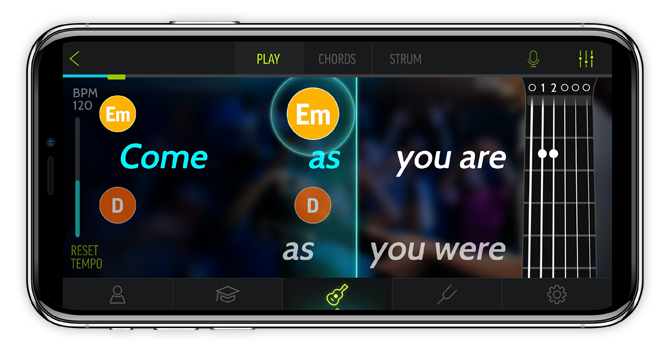 FourChords App on an iPhone
